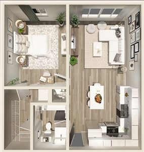 1 Bed / 1 Bath / 648 sq ft / Deposit: $300 / Rent: $1,150 - $1,199
