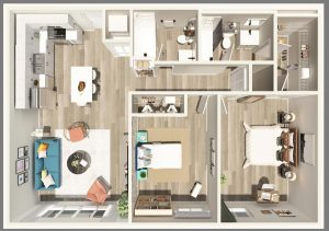 2 Bed / 2 Bath / 875 sq ft / Deposit: $300 / Rent: $1,350